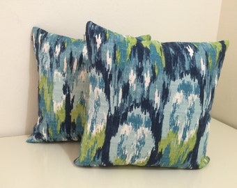 Two - 16x16 Pillow Cover with Invisible Zipper in Blue and Green Ikat