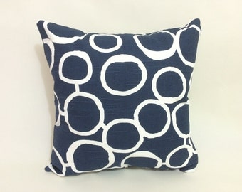 One - 16x16 Pillow Cover with Invisible Zipper in Navy Blue & White Free Hand and Shakes Fabric