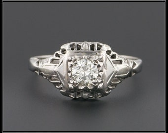 Art Deco Engagement Ring | Vintage Engagement Ring | Filigree Diamond Ring |  Diamond & Filigree Engagement Ring | 18k Gold Ring