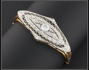 Antique Diamond Bracelet | Edwardian Diamond Bangle Bracelet | Diamond Filigree Bracelet | Platinum & Gold Bracelet | Brooch Conversion