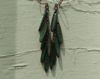 Copper Chain with Green Rounded Stick Bead Earrings