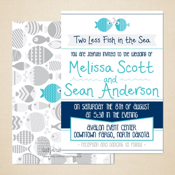 Items similar to two less fish in the sea wedding for Two less fish in the sea