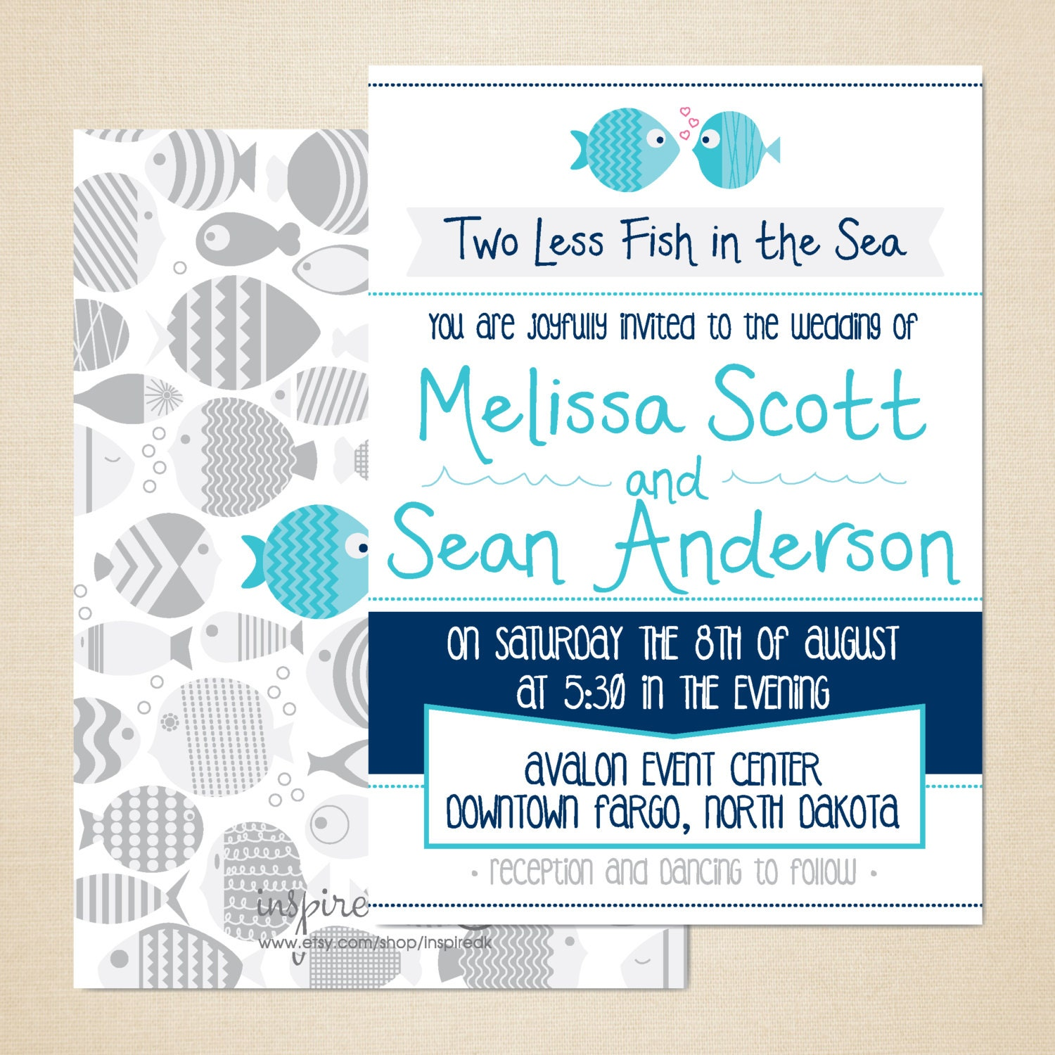 Two less fish in the sea wedding invitation 5x7 diy by for Fishing wedding invitations