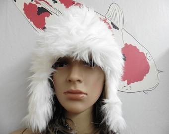 Long Elegant White Faux Fur Earflap Hat with COTTON Lining