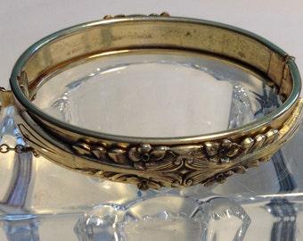 Gold Tone Vintage Victorian Revival Bangle Bracelet, 1940's Vintage Bangle Bracelet, Gold Bangle