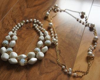 Estate Vintage Jewelry Necklace   Beaded  Beads  Pearl White  Faux Pearls  Filigree S-008