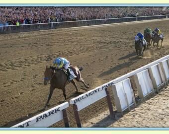 Panoramic 12x18 Belmont Home Stretch Run Victory American Pharoah Race Horse Wins Triple Crown at Belmont Stakes premium  photo print .