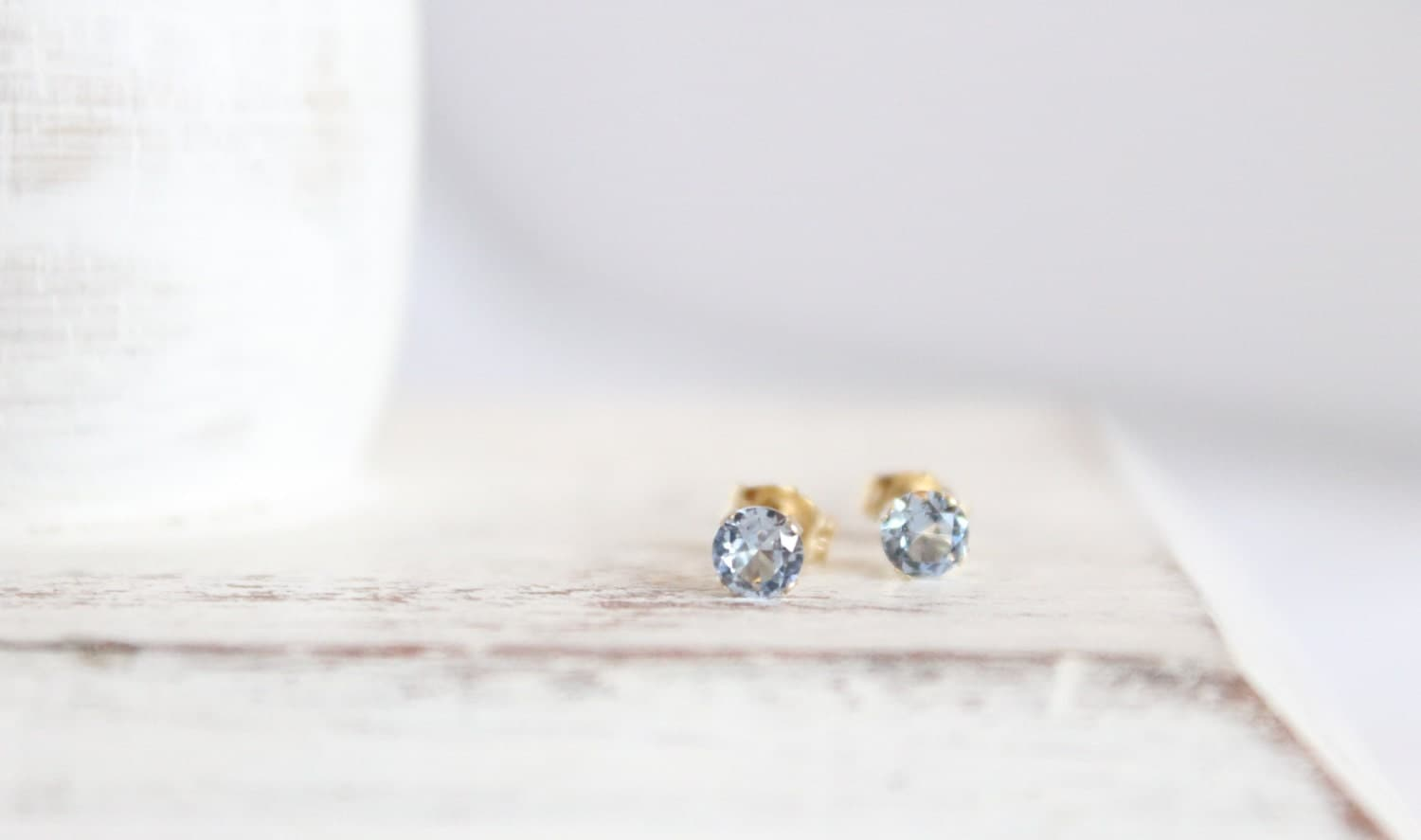 14k Gold And Aquamarine Earrings March Birthstone Studs