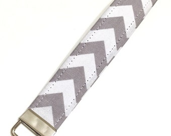 Gray and white chevron key fob keychain wristlet