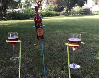 Outdoor wine glass and bottle holder