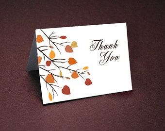 Fall Wedding Thank You Cards • Fall Thank Yous • Bridal Shower Thanks • Wedding Thank You • Fall Colors • Thank You Card • Brown Script Text