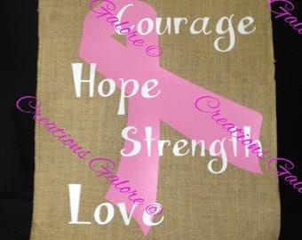 Cancer Awareness Burlap Flag - Great Gift for cancer survivor or fighter