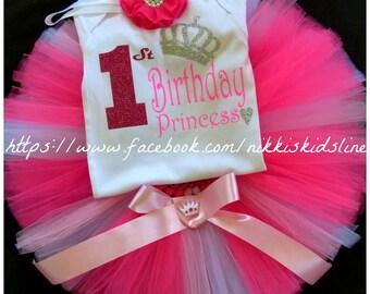 First Birthday tutu set, Hot pink first, 1st Birthday tutu set, pink first birthday tutu set, Personalised