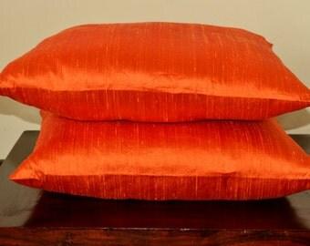 Safforn color pure Dupioni silk cushion cover / sham 12 X 12 - code 56 A