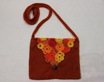 Cross body bag, small knitted across body bag, bright colourful terracotta. Women, girls, teens.