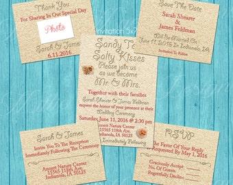 Custom Beach Wedding Invitation Set