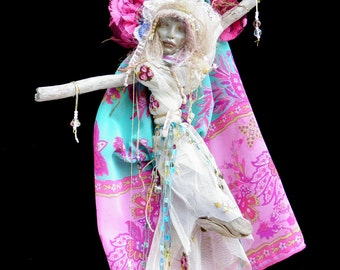 Cecily, St. Cecile, Music, Blind, Spirit Being, Companion,  Goddess Doll,  Mixed Media Assemblage, Quartz Crystal