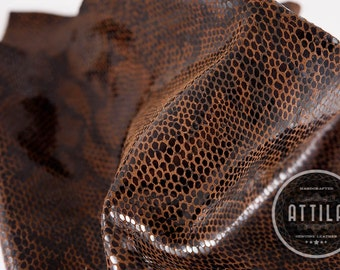 Genuine Leather Snake Print, Swatch, Available Leather for Custom Design, Cowhide