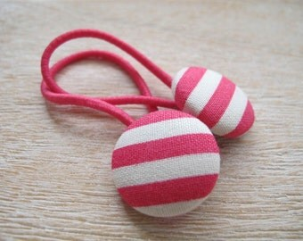 Fabric Covered Button Hair Elastic – Stripe (Set of 2)
