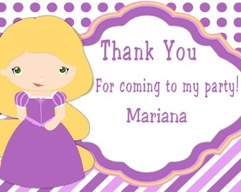 Tangled Princess Rapunzel Thank You Card, Frozen Thank You Note, Princess Thank You