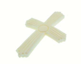 Genuine Bone Ribbed Cross (12pcs)