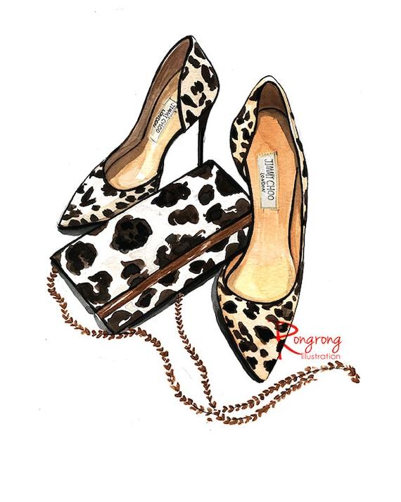 leopard print art girly wall art fashion illustration