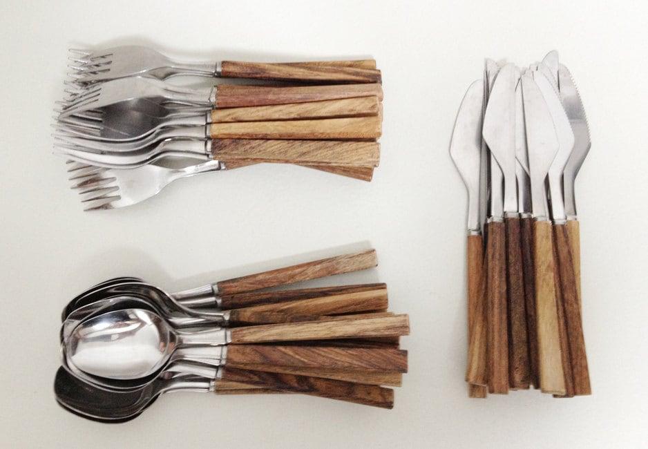 Vintage flatware set with wooden handles 48 pieces haute juice - Flatware with wooden handles ...