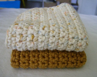 Handmade Crochet Crocheted Dishcloths Washcloths - 100% Soft Cotton