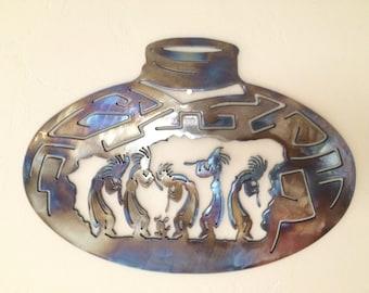 Kokopelli Pottery Metal Wall Art Decor