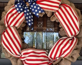 Summer Wreath, Flag Wreath, Patriotic Wreath, Fourth of July Wreath