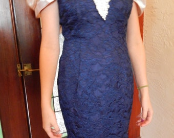 Navy and white 1980's formal dress