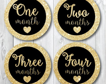 Glitter Baby Month Stickers, Baby Girl Trendy, Preppy Monthly Photo Stickers, Milestone Stickers, Months 1-12, Gold Glitter Stickers Baby