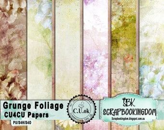 Grunge Foliage PU & CU  designers scrapbooking Papers Scrapbook pack 6 different designs .Ok Commercial use