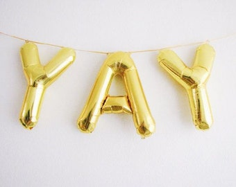 YAY- Gold foil balloons letter gold color  alphabetic mylar balloons for parties wedding bridal shower