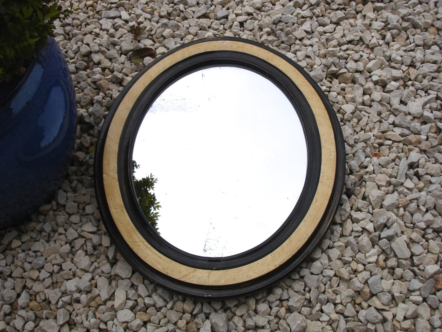 1900s french two tone wood effect mirror vintage home decor for Double mirror effect