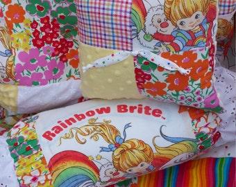 Vintage Rainbow Brite Chenille and Minky Patchwork Baby Bedding Set