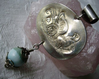 Sterling Silver .925  Paye&Baker Spoon  Easter Chicken Larimar Bead Necklace Pendant