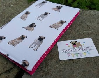 A5 Pug fabric covered notebook or diary. Pink polka dot lining
