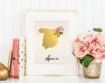 Spain Map Spain Art Spain Poster Spain Print Spain Printable Spain Postcard Printable map art Country Maps