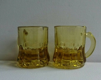 Two Yellow Federal Glass Shot Glasses
