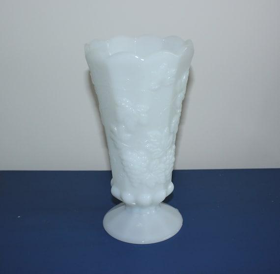 Milk Glass Vase Grapevine Vase Flower Vase Vintage By