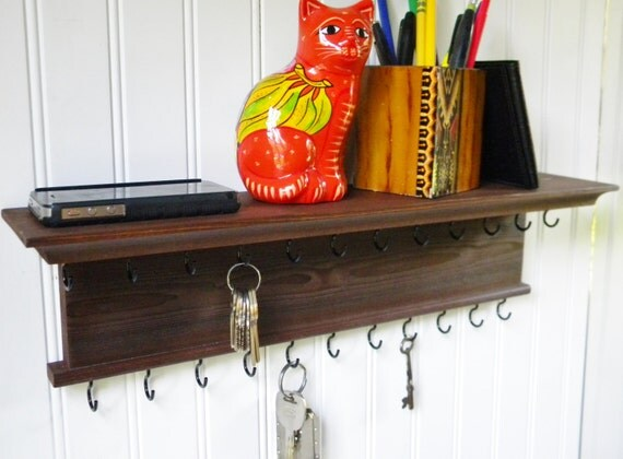 Key Holder Wall Shelf Modern Rustic English Chestnut Finish