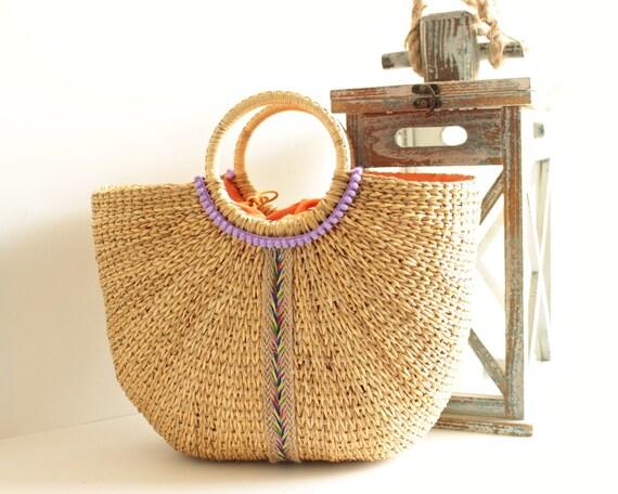 Straw Beach Bag Farmer's Market Tote Summer Bag Hard