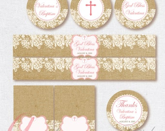 Baptism Burlap and lace printables. Burlap and lace toppers. Shabby Chic printables. Baptism printable kit. First Communion. Burlap and Lace