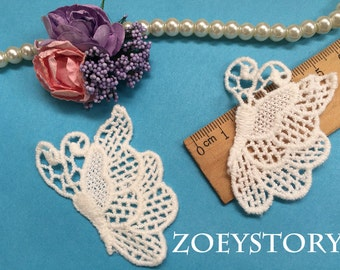 Butterfly Lace Applique, Embroidery Cotton Butterfly Venise Lace Motif in Off White, 10 pcs