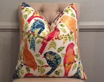 Handmade Decorative Pillow Cover - Sola Ash Hill Garden- Birds - Colorful - Indoor Outdoor