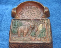 Rare Vintage Ashtray and Holder Yellowstone Park,Collectible Vintage,Castawayacres