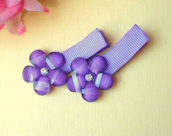 Set of 2, Purple flower rhinestone, hair clip, girls, babies, toddlers, alligator clips, fully lined