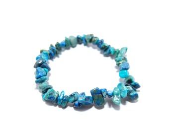Chrysocolla bracelet - Chrysocolla chip bead stretch bracelet - Blue gemstone bracelet - Healing crystal bracelet