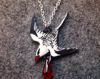Hand Drawn Flying Red-Billed Tropicbird (Phaethon aethereus) Charm Necklace (MADE TO ORDER)
